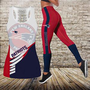 New England Patriots Women 2PCS Tank Top Leggings High Waist Butt Lift Yoga Pant