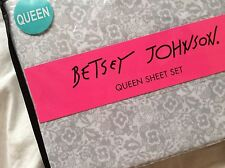 New Betsey Johnson QUEEN Sheet Set ~ Soft Gray & White Lace Patterned