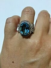 8.91 TCW Natural Aquamarine 925 Sterling Silver Ring, Size 6 3/4 US, EUR 52