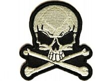 "(G34) SKULL & BONES 2.5"" x 2.75"" iron on patch (1390D) Biker Patches"
