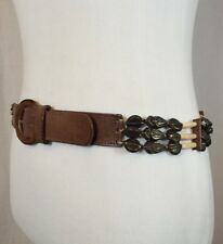 "True Vintage Leather Safari Tribal Style Belt Brass Arrow & Bone Bead Size 33"""