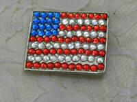 American Flag Brooch Pin USA Patriotic Silver Tone Metal Rhinestones