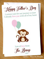 1st Father's Fathers Day Card From The Bump Dad To Be Daddy To Be Fathers Monkey