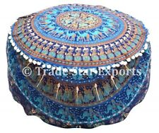 Mandala Floor Pouf Cover Handmade Cotton Ottoman Case Boho Round Footstool Cover