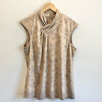 Calvin Klein Shiny Rose Gold Snake Print Top Blouse Womens New $69