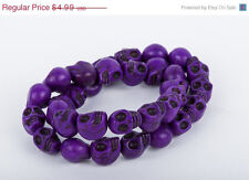 DARK Purple Sugar Skulls Gemstone Beads 1 long strand 31 beads 12mm how0049