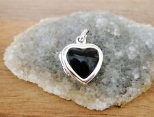 925 Sterling Silver -  Small Heart Shaped Onyx Locket Pendant - 15mm Height