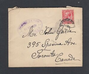 UK 1914 'POSTED ON THE HIGH SEAS' RYAL MAIL STEAM PACKET COVER TO TORONTO CANADA