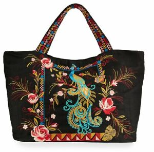 🦚JOHNNY WAS SHULA PEACOCK FLORAL EMBROIDERED LINEN TOTE BAG PURSE NEW 🦚
