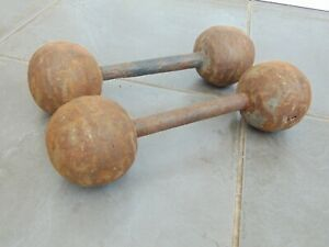 PAIR ANTIQUE LATE 19th CENTURY FRENCH CAST IRON GLOBE DUMBBELL WEIGHTS