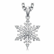 Christmas Snowflake Pendant Cubic Zirconia Solid Sterling Silver Necklace Lovely
