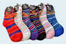 Lot of 6 Pair Women Warm Fuzzy Striped Soft Winter Slipper Cozy Socks 9-11 9123