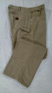 CARHARTT 35x30 B159-GKH Loose Fit Carpenter Work Canvas Jeans Tan Cotton VGC