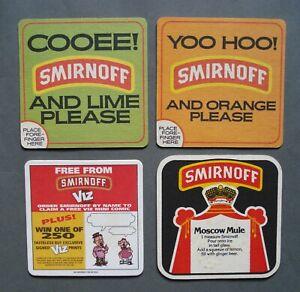 Job Lot of 4 Smirnoff Vodka Beer Mats Pub Home Bar
