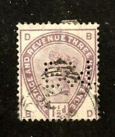 Great Britain stamp #99,used, perfin,   Queen Victoria, SCV $42