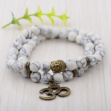 Fashion White 8MM Natural Stone Yoga Energy Women Men Bracelets Charm Jewelry