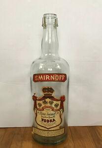 "Vintage Smirnoff Vodka Large 18"" Inch Glass Display Bottle Full Gallon"