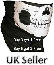 Half Skull Face Mask Skeleton Bandana Neck Warmer Tube Snood Black Biker BMX UK
