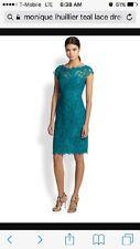 ML Monique Lhuillier Modele Teal Green Lace Dress Size 10/12 NWT $398