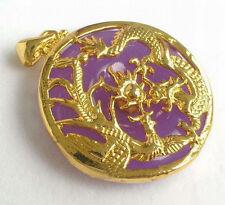 fashion Purple Violet Jade Yellow Gold Plated Dragon Phoenix Sun Pendant