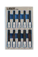 Laser 7163 Hex Allen Bit Socket Set 3/8 Drive 10pce 4mm - 13mm In Foam Holder