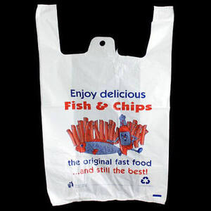 "Plastic Vest Carrier Bags White  11""x16""x19"" Fish & Chips Supermarket"