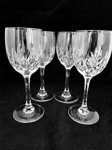 A Set of 4 Vintage Elegant Lead Crystal Cut Glass Hock Wine Glasses(2X)
