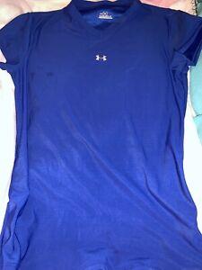 Under Armour Medium Juniors Girls Short Sleeve V-neck Shirt Sports Athletic