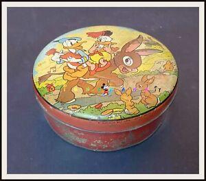 ⭐ DONALD AND DONNA DUCK English Disney Tin box  - 1937 - DISNEYANA.IT ⭐