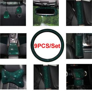 9Pcs Retro Car Interior Steering Wheel Cover+ Seat Belt Pads+Console Armrest Set