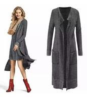 CAbi Lara Long Duster Cardigan Sweater Size M Grey Pockets Open Front Long