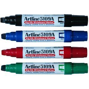 Artline 5109A Big Nib Whiteboard Marker,  10.0mm Chisel Tip, 4-Color Set, 47456