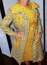 Vtg 60-70's Jack Feit 2 pc MOD Yellow HiPpIE Dress GoGo HOPSACK Jacket Set RETRO