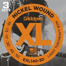 D'Addario Nickel Electric Guitar Strings, Light Top/Heavy Bottom, 10-52, 3 sets