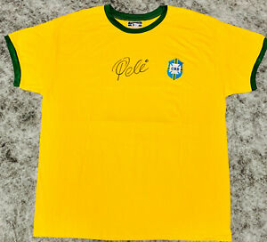 Brazil Pele Autographed Soccer Jersey Front Signed - Beckett BAS COA