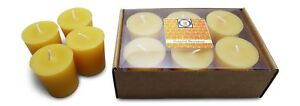6 Natural Honey Scented 100 Percent  Beeswax Votives, Votive Candles, 12 Hour