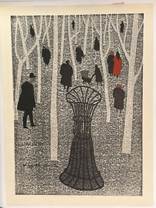 "Original Kiyoshi Saito Woodcut Print ""Winter In Paris (A)"" 1966"
