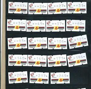 Etiquetas adhesivas ATMs España KLÜSSENDORF AÑO 1992  GRANADA 92  19 valores