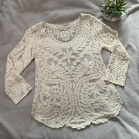 Anthropologie MEADOW RUE sz Med Floral Embroidered Mesh 3/4 Sleeve Cream Top