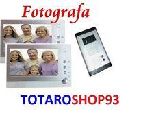 """VIDEO E FOTO FOTOGRAFA KIT VIDEOCITOFONO BIFAMILIARE TELECAMERA CON 2 MONITOR 7"""""""