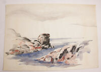 "Rocky Coast Ocean Water Seaside Watercolor Tide Painting 14x20"" VINTAGE A01J"
