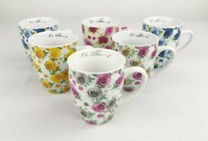 6 Kaffeetassen Henkelbecher ADLER Serie Rosen Floral Kaffeebecher Sonder Edition
