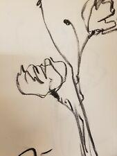"JOSE TRUJILLO Original Charcoal Paper Sketch Drawing 9X12"" POPPIES WORK ON PAPER"