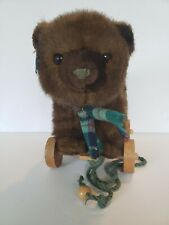 Vintage 1986 Applause Stuffed Bear on Wheels Pull Toys Stuffed Animal Euc Brown