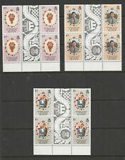 1981 Royal Wedding.3 MUH Blocks of 4 each from Cayman Isl. See Photos & Values.
