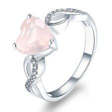 Natural Rose Quartz 925 Sterling Silver Heart Ring Friendship Girlfriend Mom