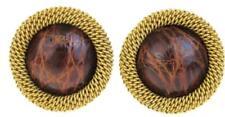 PRADA Large Earrings Brown Gold Leather Metal Vintage