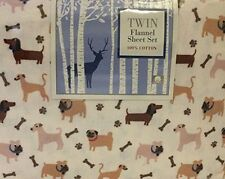 Dog Friends Flannel Sheet Set Twin New Made in Turkey Dachshund Bulldog