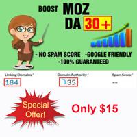 Increase Domain Authority DA Moz 30+ Seo Backlinks