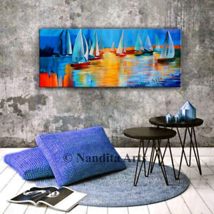 Sunset Boat Painting, Sail Boat Décor, Coastal Painting Seascape Canvas Wall Art